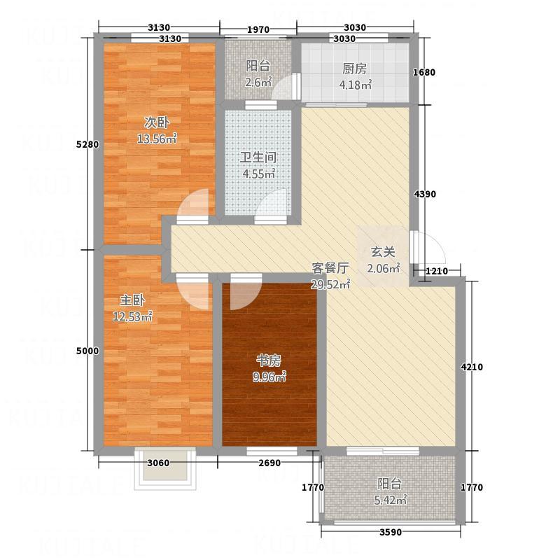 城市印象118.86㎡D户型3室2厅1卫1厨