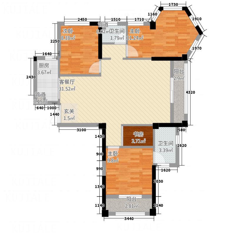 三盛中央公园113.20㎡F户型3室2厅2卫1厨