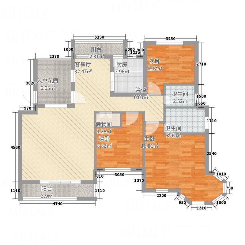 诚通国际城13.00㎡一期A1户型3室2厅2卫1厨