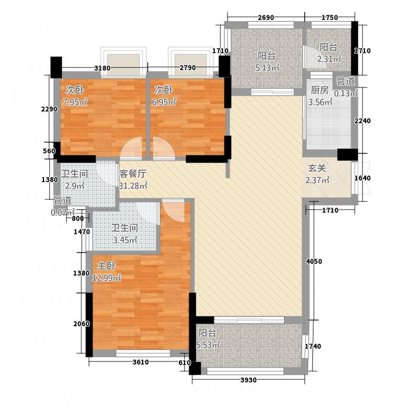 三盛中央公园118.20㎡D户型4室2厅2卫1厨