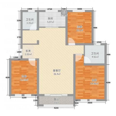 中通・凤凰城3室1厅2卫1厨89.95㎡户型图