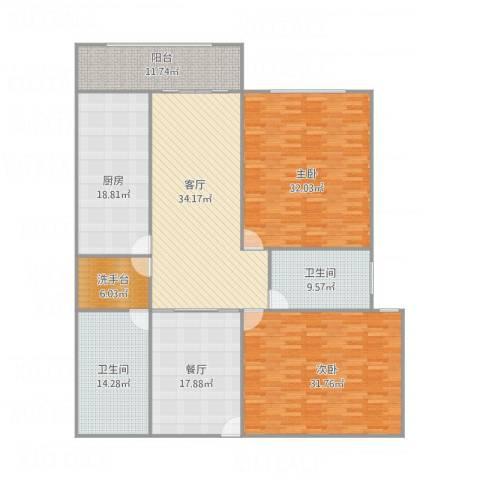 远中风华园2室2厅2卫1厨233.00㎡户型图