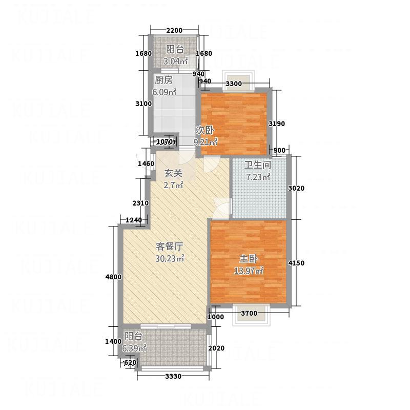 百花亭佳苑6.40㎡户型2室2厅1卫