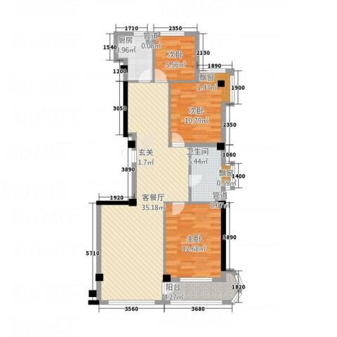 山水花园3室1厅1卫1厨111.00㎡户型图