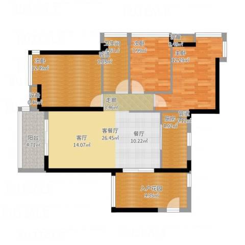 爱ME公园3室1厅1卫1厨120.00㎡户型图