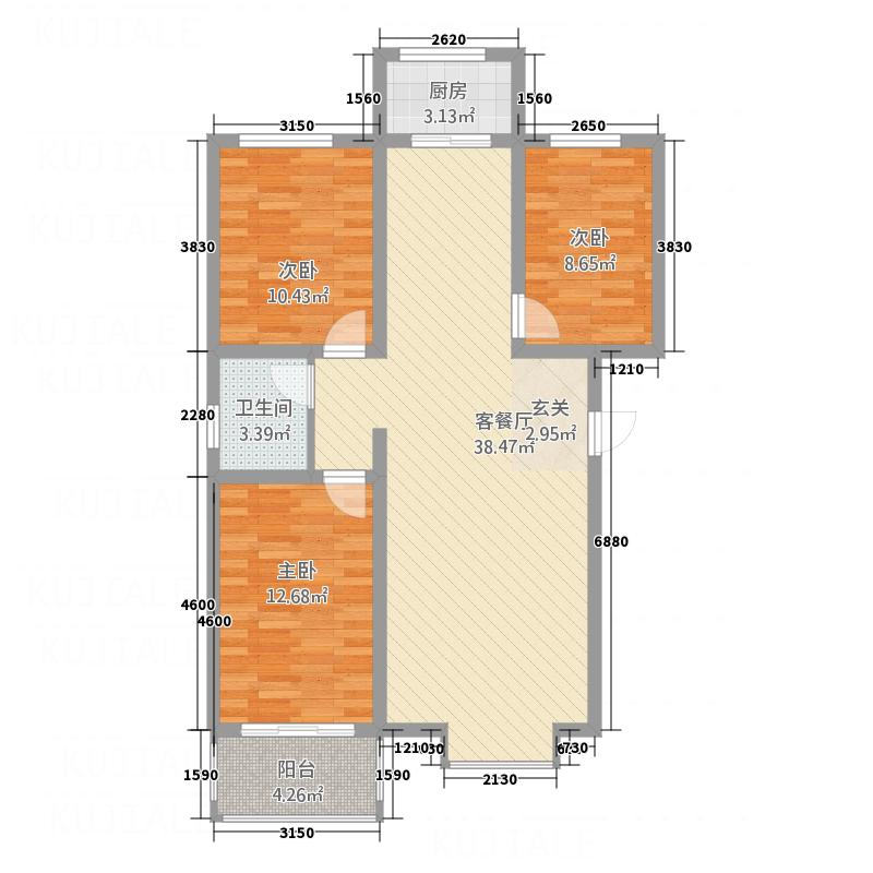 城市印象115.20㎡B户型3室2厅1卫1厨