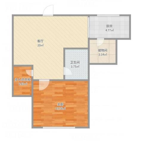 锦泉南园8-601011室1厅1卫1厨66.00㎡户型图