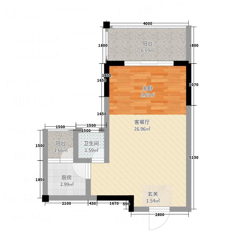 南明新苑51.87㎡C户型1室1厅1卫1厨