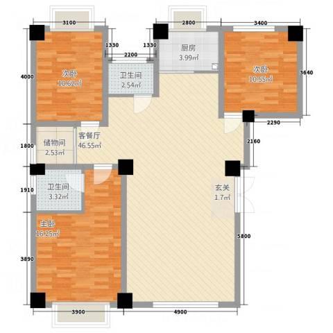 陶瓷家园3室1厅2卫1厨137.00㎡户型图