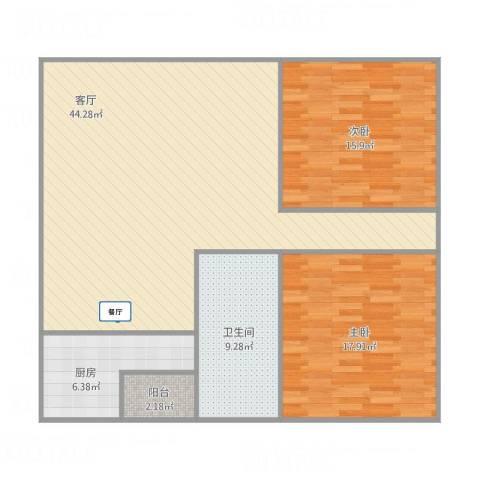 幸福E家五期2室1厅1卫1厨128.00㎡户型图