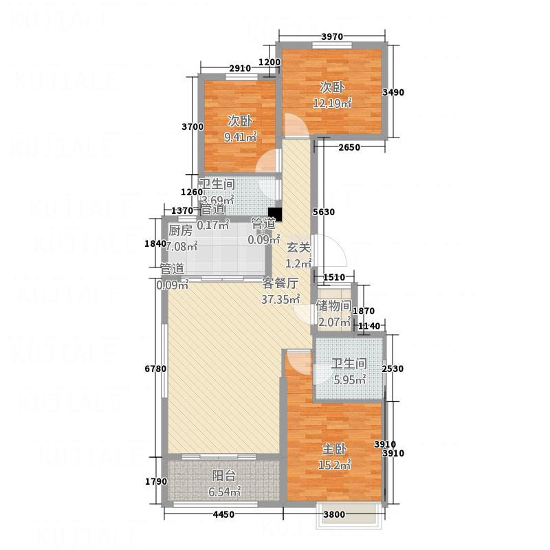 唐山新世界中心143.00㎡4号楼E1户型3室2厅2卫1厨