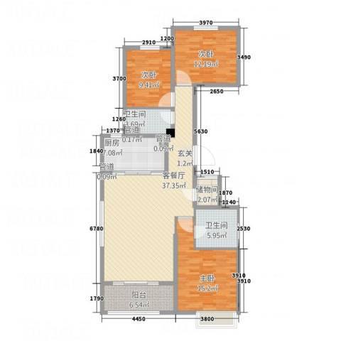 唐山新世界中心3室1厅2卫1厨143.00㎡户型图