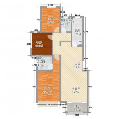 盛世・保尔HOUSE3室1厅2卫1厨89.49㎡户型图