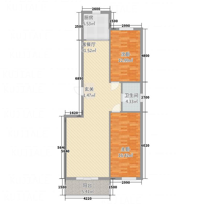 荟和商区123.00㎡户型2室2厅1卫1厨