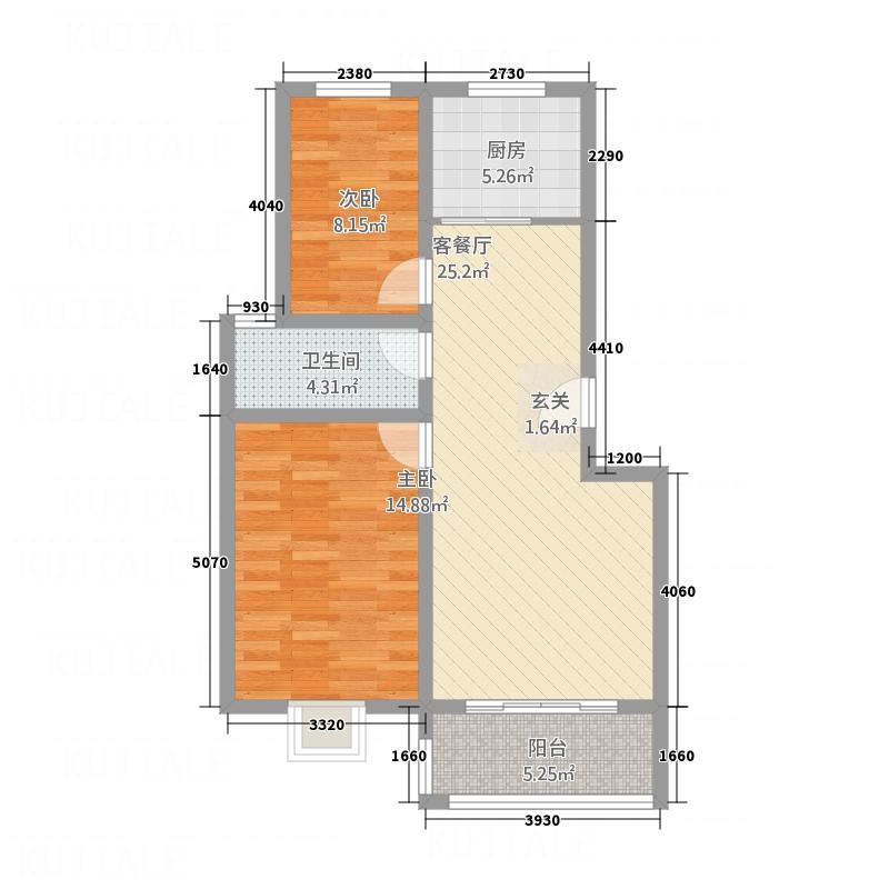 青鸾湖A3户型2室2厅1卫