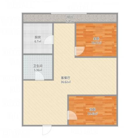 河沿巷2室1厅1卫1厨101.00㎡户型图
