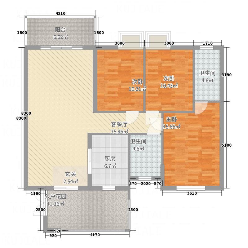 城南故事131.70㎡35#I户型3室2厅2卫1厨