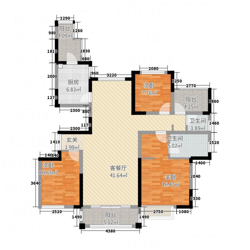 荆州万达广场5315.20㎡户型3室2厅2卫1厨