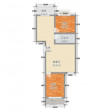 中铁绿洲2室1厅1卫1厨67.55㎡户型图