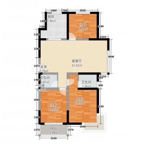 晟宝龙广场3室1厅2卫1厨121.00㎡户型图