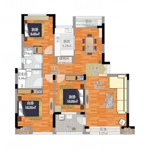 香格里拉花园紫阳3室1厅2卫1厨143.00㎡户型图