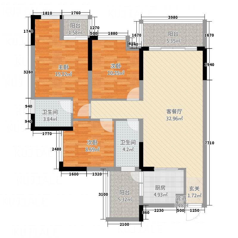 卓宏・山水城户型3室2厅2卫1厨