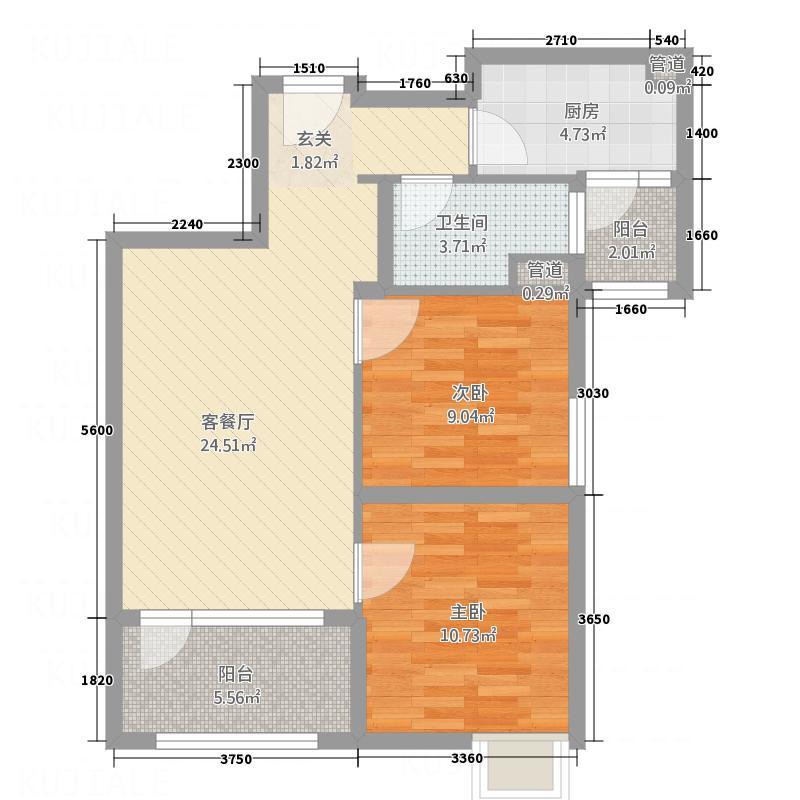 青岛碧桂园2室1厅1卫1厨60.66㎡户型图