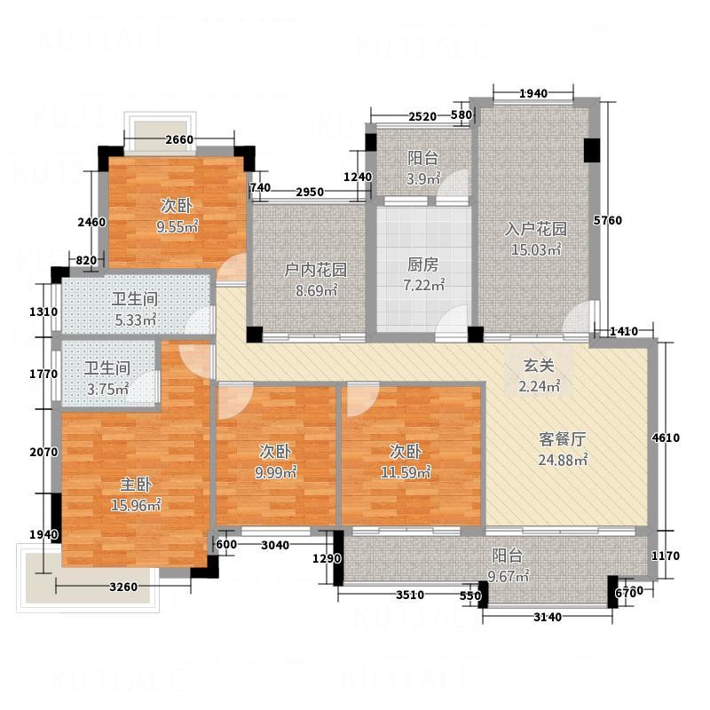 凯光中央华府138.20㎡C户型4室2厅2卫1厨