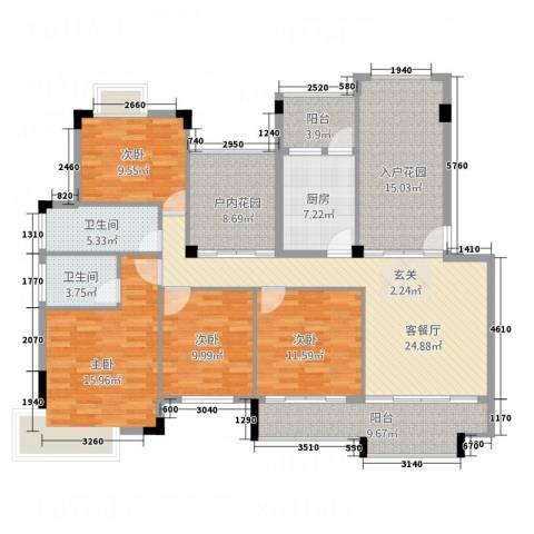 凯光中央华府4室1厅2卫1厨138.00㎡户型图