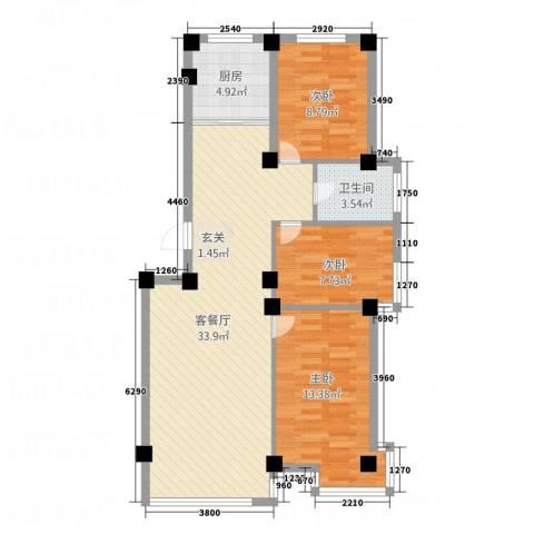 光明小区3室1厅1卫1厨102.00㎡户型图