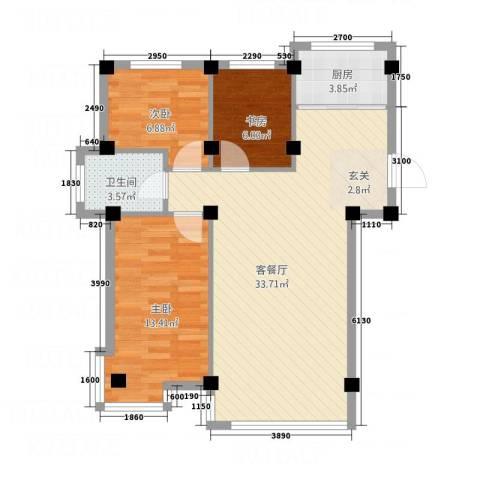 光明小区3室1厅1卫1厨95.00㎡户型图
