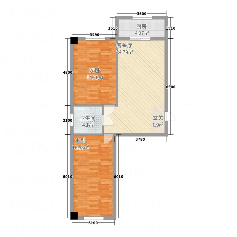 荟和商区8.83㎡户型2室1厅1卫1厨