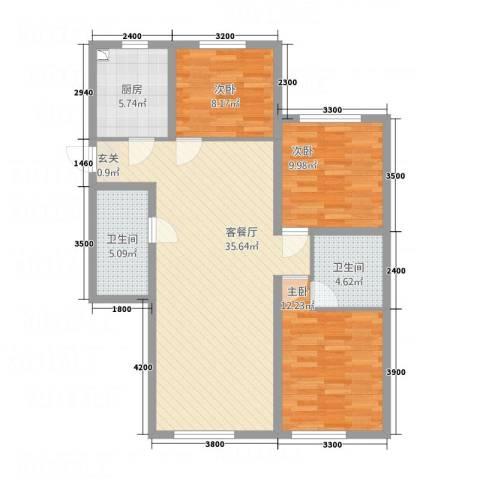 东城丽景3室1厅2卫1厨116.00㎡户型图
