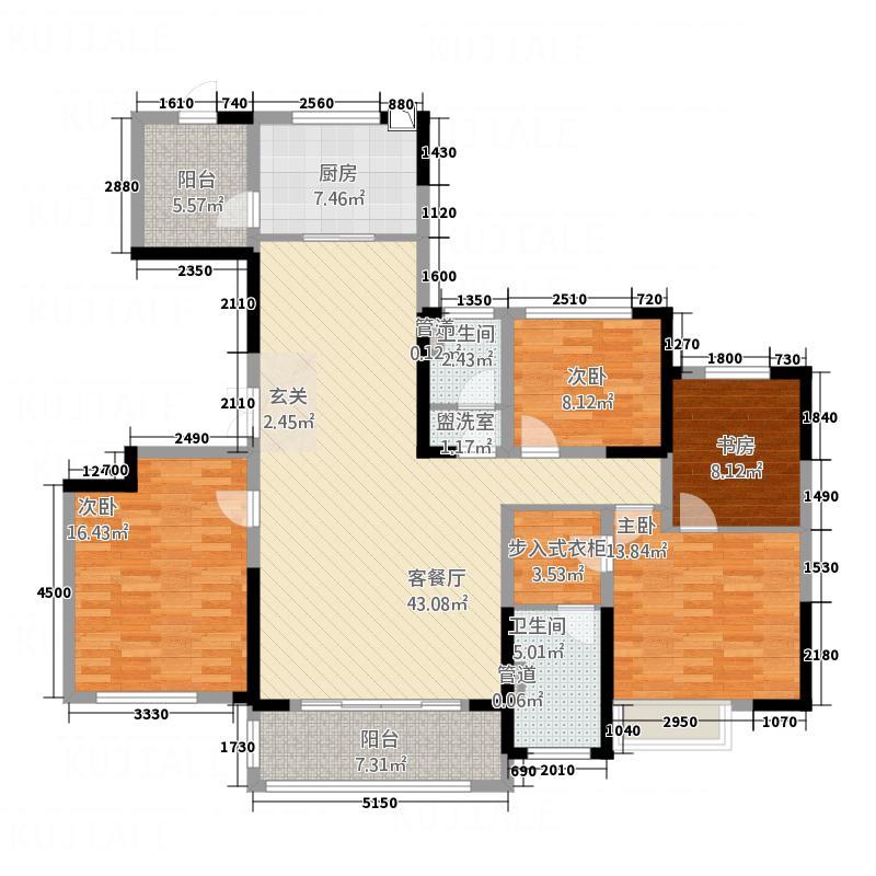 荆州万达广场14175.20㎡户型4室2厅2卫1厨