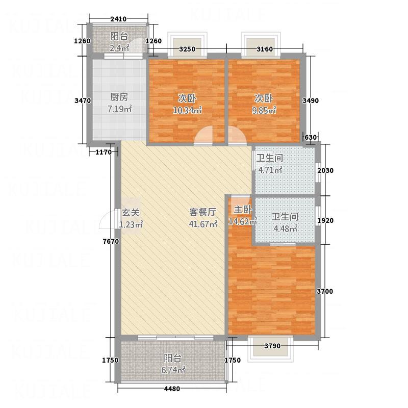 鼎厦・东方名苑131.00㎡户型