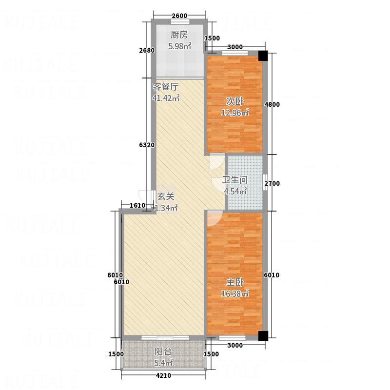 荟和商区8.83㎡户型2室2厅1卫1厨