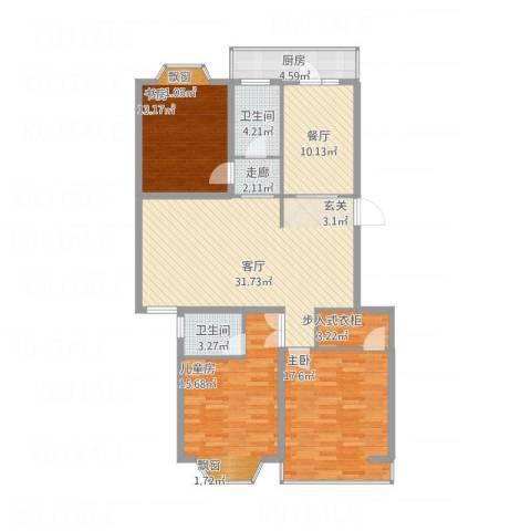 盛世华庭B63室2厅2卫1厨148.00㎡户型图