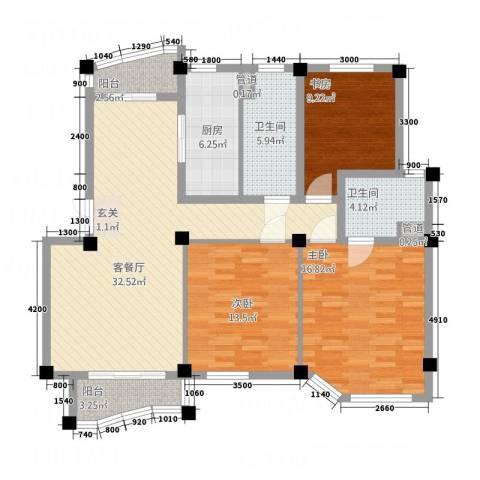 香格里拉花园3室1厅2卫1厨122.00㎡户型图