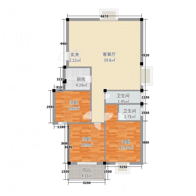 汇华广场23121.20㎡户型3室2厅2卫