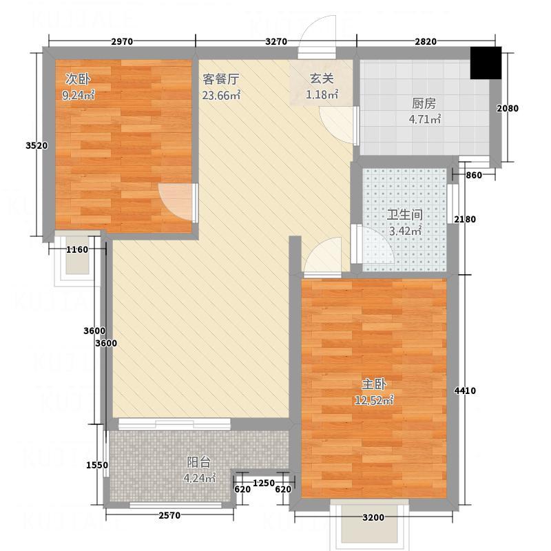 天展明珠港83.52㎡户型2室2厅1卫1厨