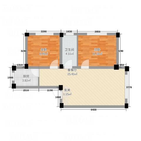 天福新城2室1厅1卫1厨78.00㎡户型图