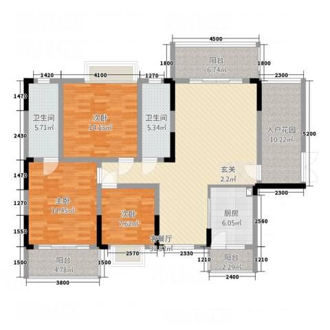 明珠花园3室1厅2卫1厨134.00㎡户型图