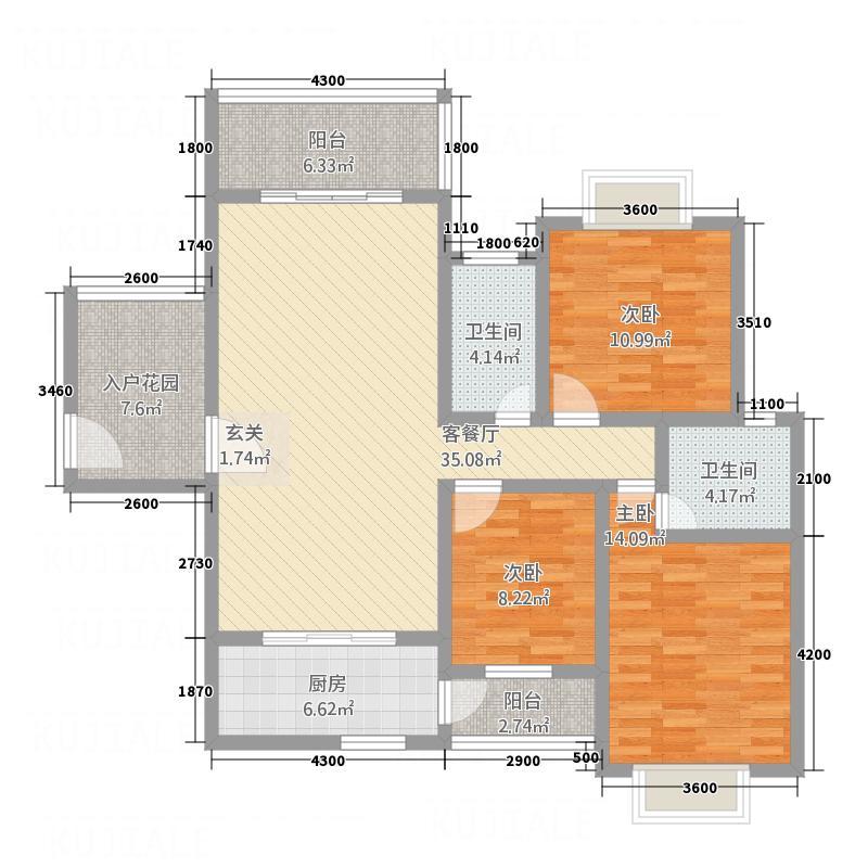 景翠豪庭125.66㎡户型3室2厅2卫1厨