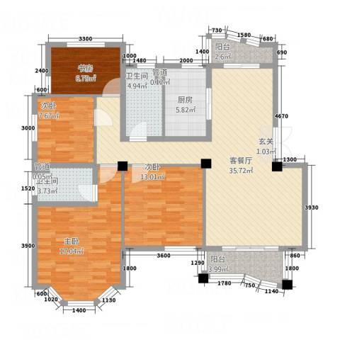 香格里拉花园4室1厅2卫1厨135.00㎡户型图