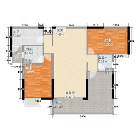 城建・君悦城2室1厅2卫1厨128.00㎡户型图