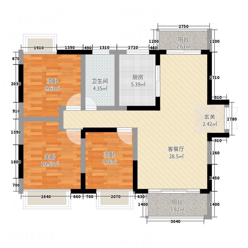 华乐苑3.00㎡户型2室