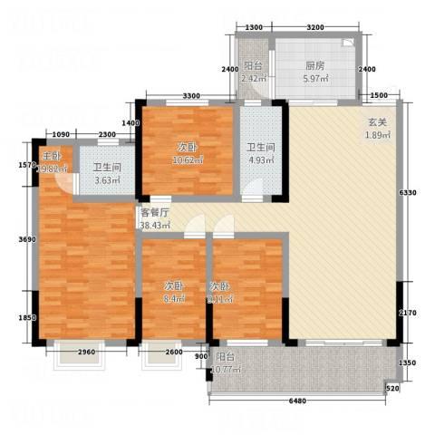 明珠花园4室1厅2卫1厨143.00㎡户型图