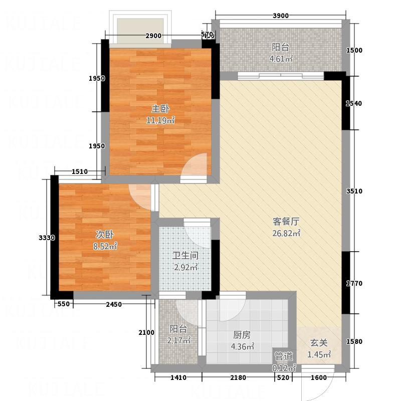 银海新城三期户型图三期17-20幢标准层A户型 2室2厅1卫1厨