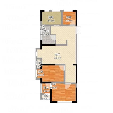 旺角公馆3室1厅1卫1厨95.00㎡户型图
