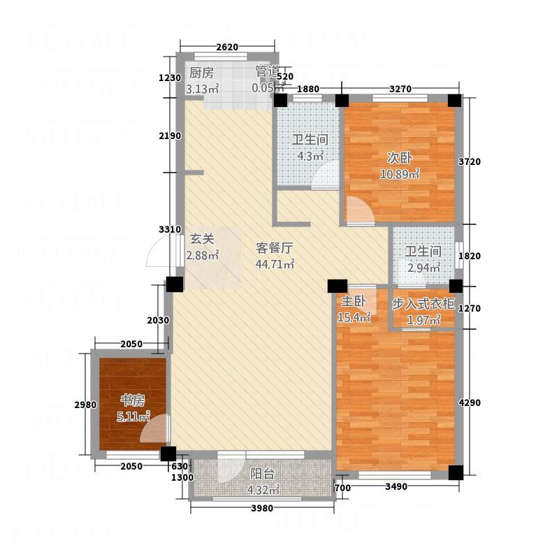 汇利嘉园户型3室2厅2卫1厨